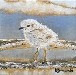 """""""Plover Chick 2"""" 8""""x8"""" acrylic on canvas. Copyright 2018 Kate Zamarchi. All rights reserved."""