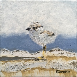 """""""Plover Chick 1"""" 8""""x8"""" acrylic on canvas. Copyright 2018 Kate Zamarchi. All rights reserved."""
