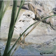"""""""Plover Hide n Go Seek"""" 8""""x8"""" acrylic on canvas. Copyright 2018 Kate Zamarchi. All rights reserved."""