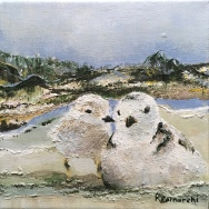 """""""Plover Cuddle Time"""" 8""""x8"""" acrylic on canvas. Copyright 2018 Kate Zamarchi. All rights reserved."""