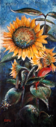 """""""Cardinal Sun"""" 20""""x40"""" acrylic on canvas. Copyright 2018 Kate Zamarchi. All rights reserved."""